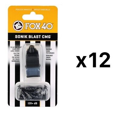 Fox 40 Sonik Blast CMG 2-Chamber Pealess Whistle with Lanyard, Black (12-Pack)