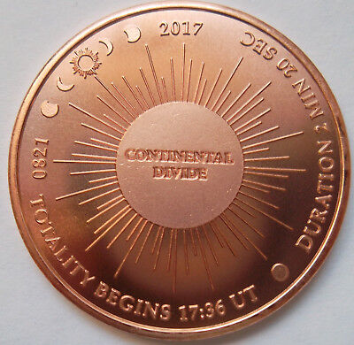 Continental Divide / Eclipse Across America copper medal - very low mintage