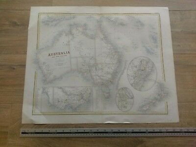 Large Antique Map Of Australia and New Zealand