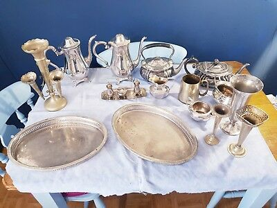 A Job Lot Of 18 Vintage Silver Plated Items.9 Kgs In Weight.