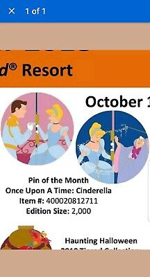 Disney Parks Pin Of the Month Once Upon a Time Cinderella Le 2000 Pre Sale 10/11