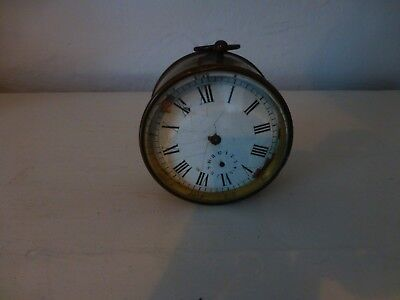 Antique Round Brass Clock for spares or repair Non working