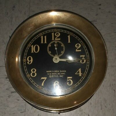 Mark 1-Deck Clock, U.S. Navy, N 2542, 1940  Made by Seth Thomas in U.S.A.