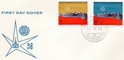 Liechtenstein  Ersttagsbrief  FDC  Expo  1958                      Lot361
