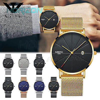 NIBOSI Unisex Style Watch Luxury Famous Top Brand Dress Quartz Wristwatches