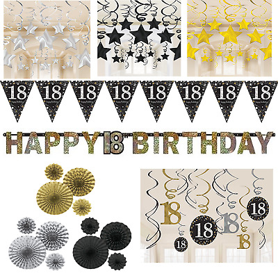 18th Birthday Decorations Black Gold Silver Banner Fans Bunting Swirls Stars