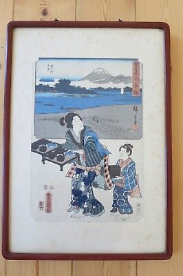 A Framed & Stamped Japanese Block Print with inscription on reverse