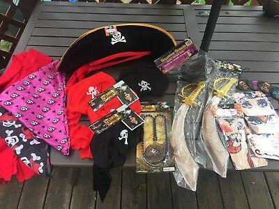 22 Piece Lot Pirate Costume Party Accessories Halloween Swords Hat Tattoos Hook