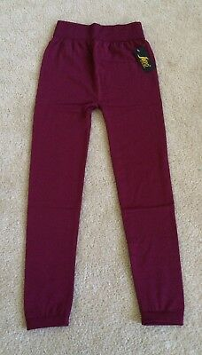 NEW Ladies Plus Size  Fleece lined Leggings - One Size - Burgundy Red