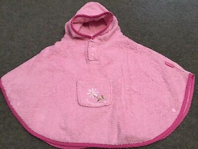Jojo Maman Bebe Hooded Towel Poncho Age 0-2 Years Pink Flower