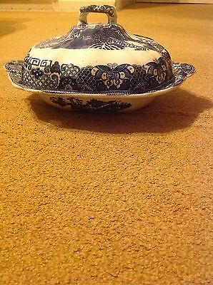 Vintage Stunning & Unusal Hand Painted Blue Theme, Tureen /Serving Dish With Lid