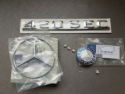 Genuine Mercedes-Benz C126 560SEC Rear trunk and bonnet logo emblem badge set