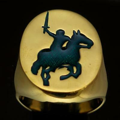 Mens Bronze Medieval Costume Ring Attacking Knight On Horse Dark Green Any Size
