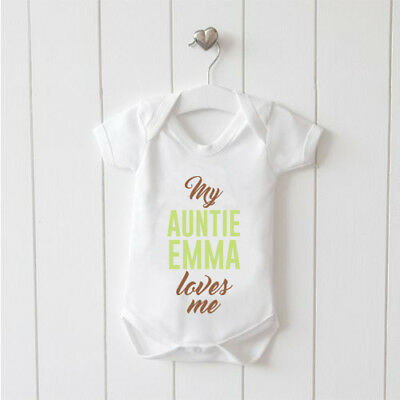My Auntie Loves Me Personalised Baby Vest Baby Grow 100% Cotton Boys Girls Bodys