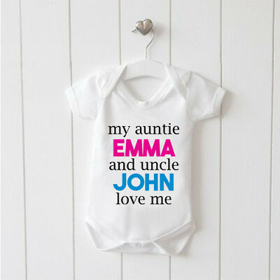 My Auntie and Uncle Love Me Personalised Vest Baby Grow 100%Cotton Boys Girls
