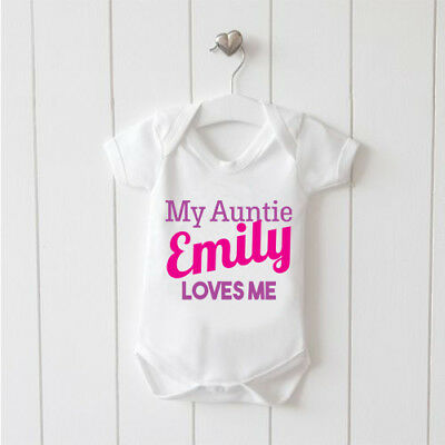 My Auntie Personalised Loves Me Baby Vest Baby Grow 100% Cotton Boys Girls Bodys