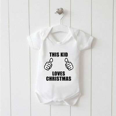 This Kid Loves Christmas Baby Vest Baby Grow 100% Cotton Boys Girls Bodys Cute