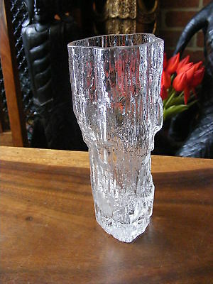 "7"" Tall Vintage Tapio Wirkkala Iittala Ice Glass Avena Art Vase Made in Finland"