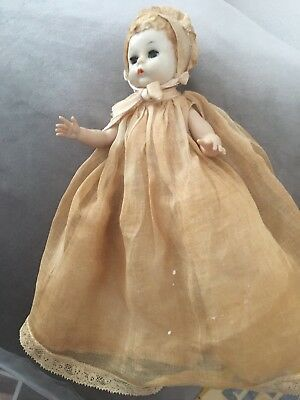 Vintage Madame Alexander Little Genius Doll, batism gown with bonnet