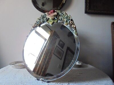 Antique/vintage Barbola Mirror On A Stand - Leather Flowers