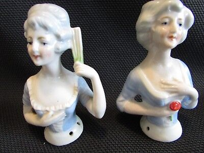 Two Attractive German Antique Pincushion Half Dolls
