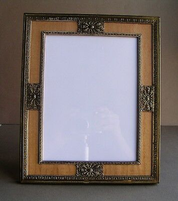 Vintage Classic Art Deco Wood Look and Brass Picture Frame