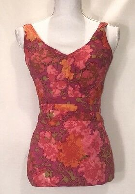 VTG 1950's Perfection Fit by Roxanne Swimsuit Pink Floral 12/34B MUST SEE
