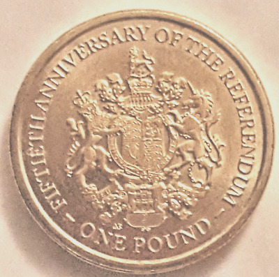 Uncirculated 1 One Pound Coin 2017 Gibraltar 50Th Anniversary The Referendum New