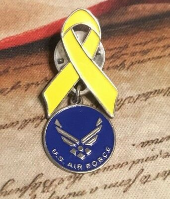 Enameled Yellow Ribbon with U S Air Force Wings Symbol Charm Lapel Pin VGUC!!