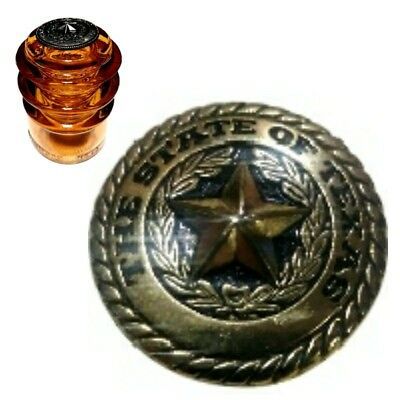 Mint Condition Stained Orange Armstrong #3 Glass Insulator w/Brass Texas Concho
