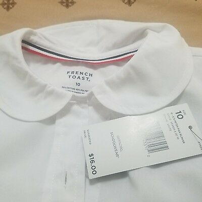 Girls French Toast Uniform/Casual White Button Down Shirt Size 10