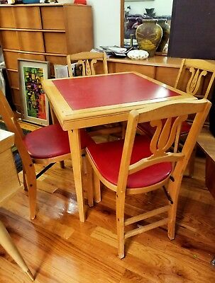 Stakmore Folding Card Table And Four Chairs 1960s Vintage Mid Century Modern