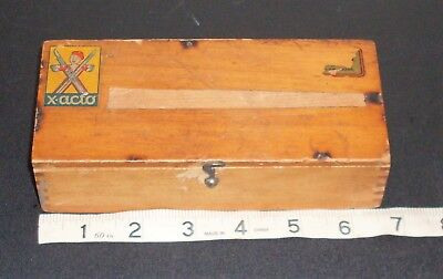 Nice Vintage Wood Working X-acto Knife Set w/ Dovetail Wooden Box Case