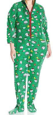 f1fa7cb80 Hello Kitty Green Women's Plus Size Ugly Holiday Hoodie Jumper 1X Runs Small