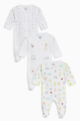 BNWT Next Baby Girl /Boys 12-18 Months 3 Pack White Animal Sleepsuits /Babygrows