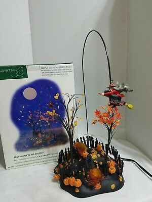 Dept 56 Original Snow Village Halloween Village Animated Up, Up and Away Witch