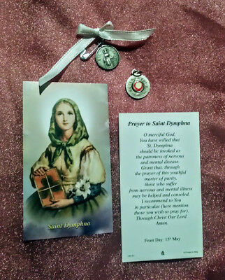 St Dymphna Saint For Mental Problems Relic Medal & Laminated Holy Card