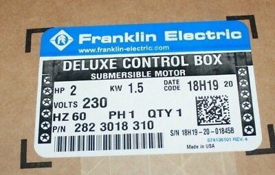NEW FRANKLIN ELECTRIC Control Box 280-1054-915 1/2Hp 0 37Kw