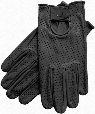Motorsports Black Genuine Leather Perforated Driving Gloves