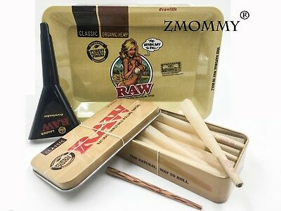Raw Girl Mini Tray bundle : Raw King Size Cones 15 count +  Raw Loader + Raw Tin