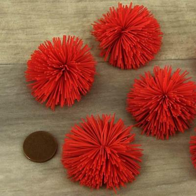 "Red Pom Poms 44mm (1.7"") Best Quality Craft Pompoms xmas reindeer nose x 6"