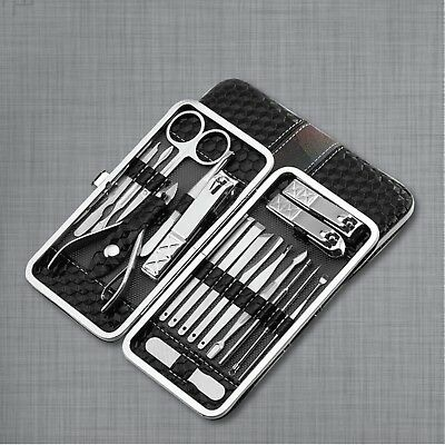 18 Pcs Manicure Pedicure Set Stainless Nail Clippers Kit Cuticle Grooming Beauty