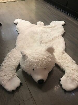Used 100 % perfect condition White fur Bear Rug Shabby chic baby room hanging