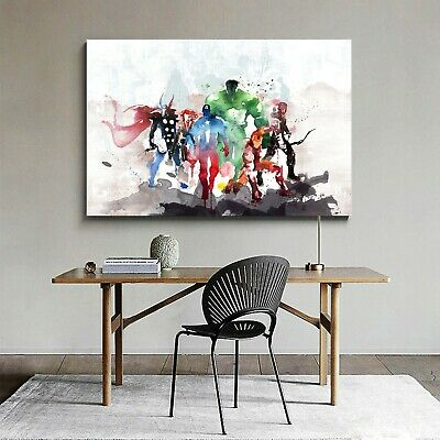 Framed Canvas Prints Stretched Watercolor Avengers Hero Wall Art Decor Painting