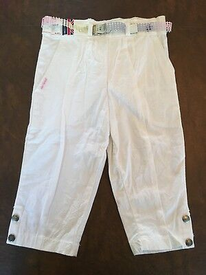 NWT Vtg Brittania White Cotton Belted Girls Pants Size 4