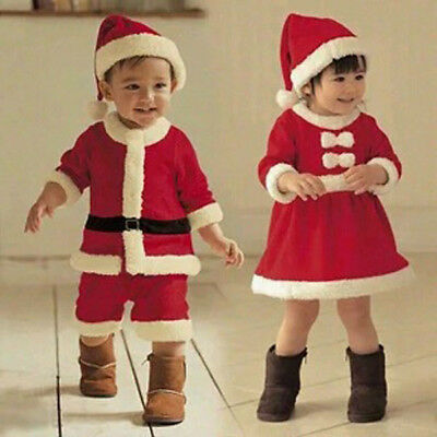 Kid Boys Girls Christmas Santa Claus Dress Set Outfit Baby Costume Xmas Clothes