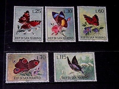 San Marino 1963 Butterflys Set Of 5 Mint M/vl/h