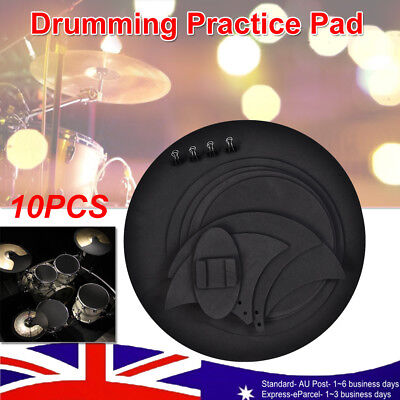 10Pcs Bass Drums Sound off/Quiet Mute Silencer Drumming Rubber Practice Pad Set