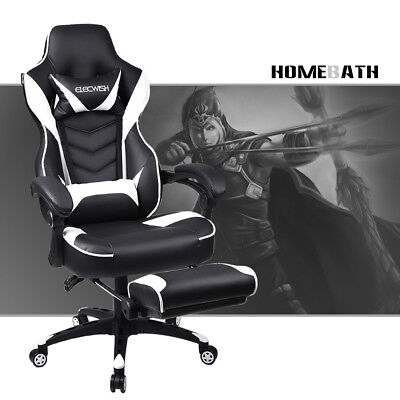 Video Computer Gaming Chair w/ Recline Footrest High Back PU Leather Seat Swivel
