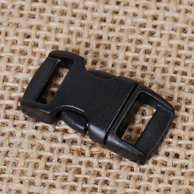 100x 10mm Plastic Side Quick Release Buckles for Webbing Bag Strap Clips Black